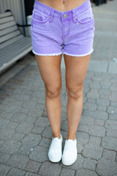The Polly Denim Shorts (Purple)