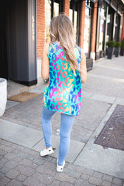 Spotted Chromatic Twist Tank (Teal)