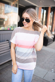 A Twist With Sprinkles Striped Top (Coral)