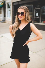 Take Me Downtown Ruffle Romper (Black)