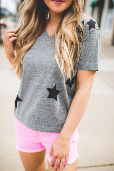 Make A Wish Star Tee (Grey) FINAL SALE