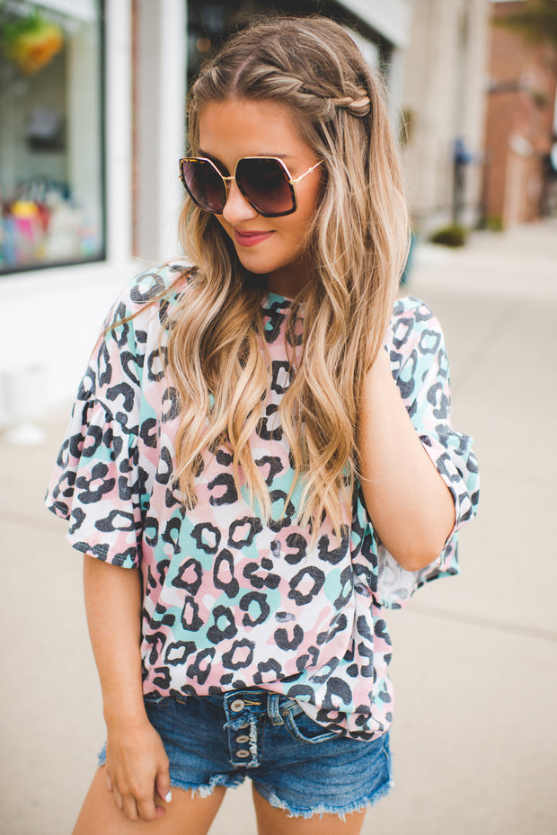 The Carole Leopard Top (Pink/Teal)