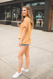 The Jana Striped Pocket Tee (Mustard)