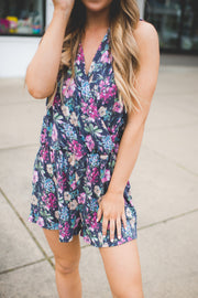 The McKenna Floral Romper (Navy) FINAL SALE
