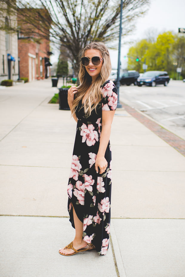 Gracie High-Low Floral Maxi (Black)