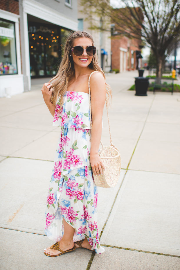 The Monica Floral Maxi Dress (Ivory)