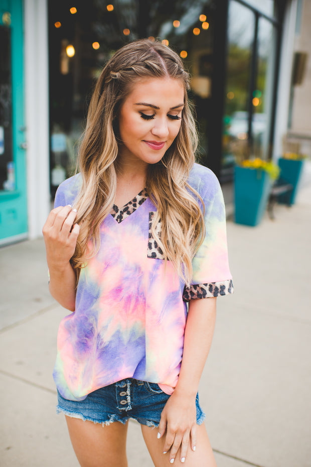 Spotted Hippie Pocket Top (Blue/Pink)FINAL SALE