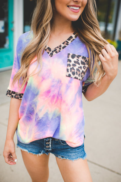 Spotted Hippie Pocket Top (Blue/Pink)