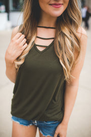 The Sloan Strappy Tank Top (Olive)