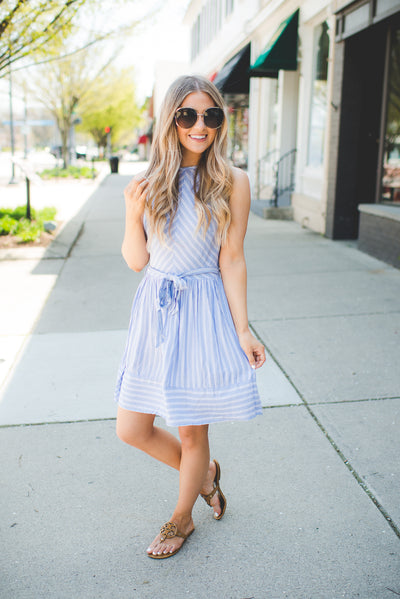 Julianna Striped Halter Dress (Blue)