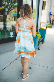 Orange Sand Swing Dress (Orange/Mint)