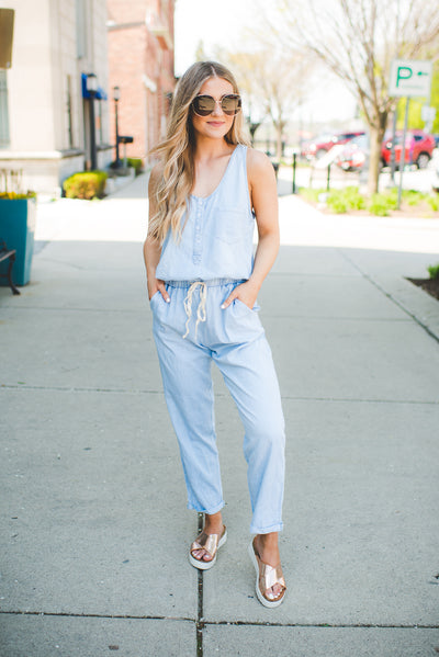 Chambray Jumpsuit (Light Blue)