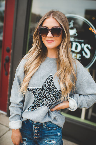 Mono B Cheetah Star Crewneck (Grey)