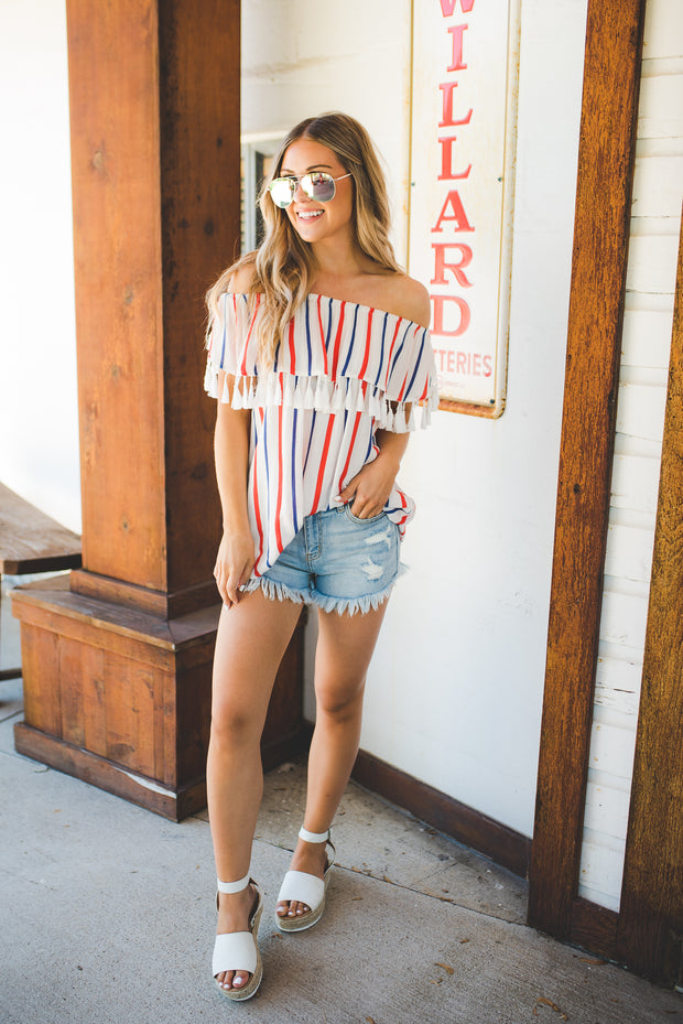 Striped Tassel Top (RW&B)