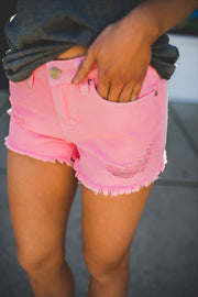 The Heidi Denim Shorts (Coral)
