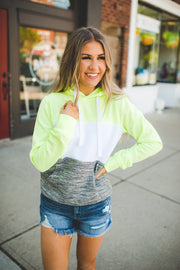 Queen Of Neon Blocked Hoodie (Green)