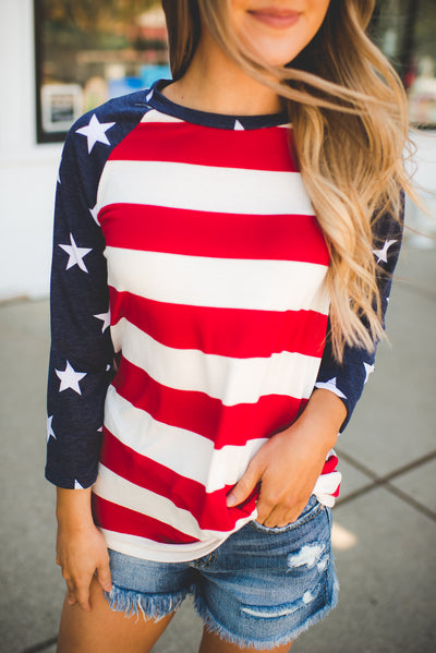 American Flag Raglan Top