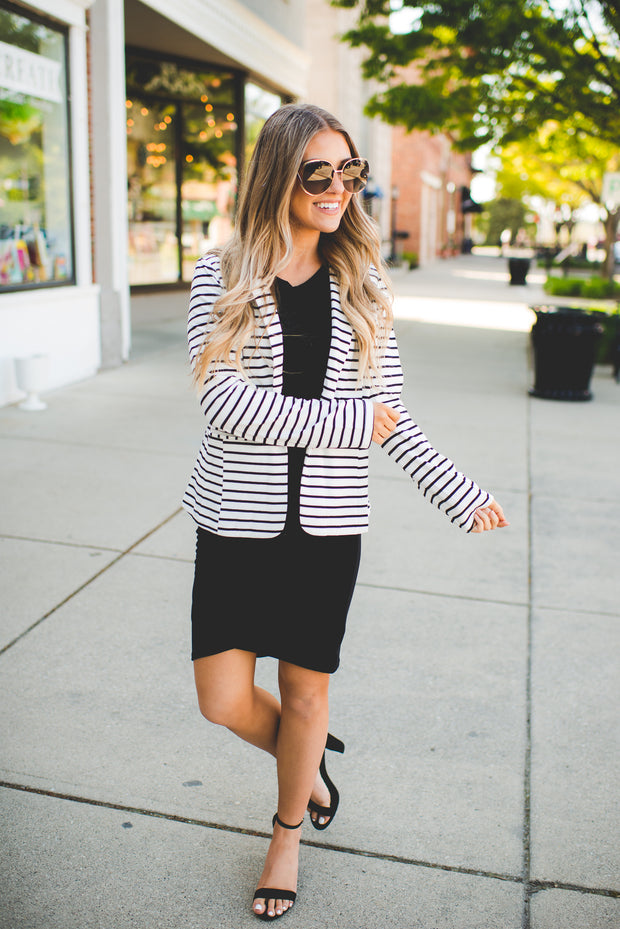 You're All I See Blazer (Ivory/Black Stripes)