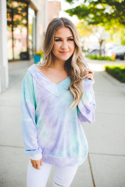 The Milly Tie Dye V-Neck (Mint/Lavender)