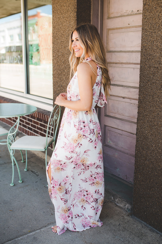 Watercolor Floral Halter Maxi (Ivory/Pink)