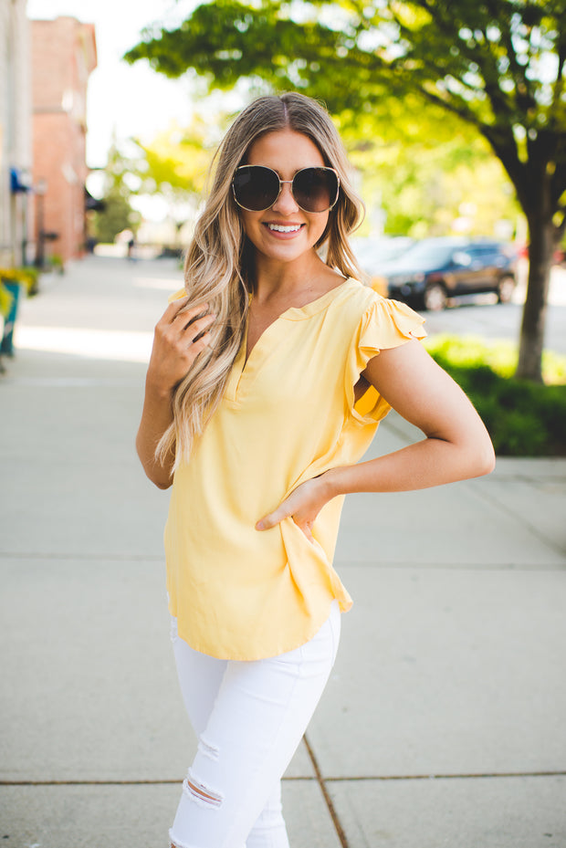The Francis Flutter Blouse (Marigold)