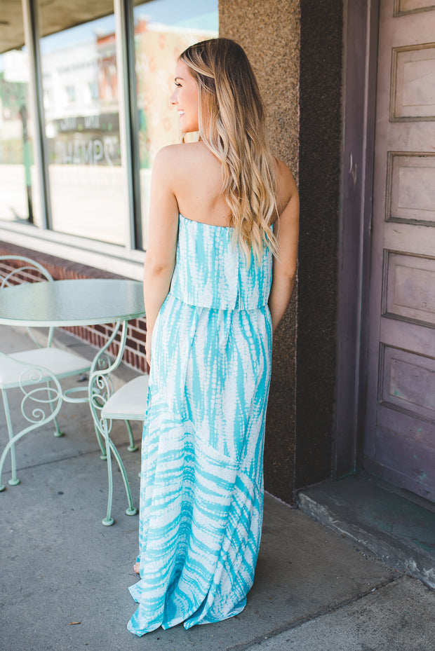 Sea Goddess Tie Dye Maxi (Turquoise) FINAL SALE