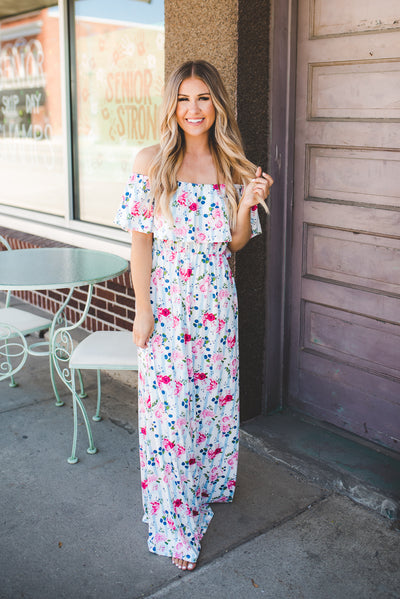 The Pearl Striped Floral Maxi (Blue)