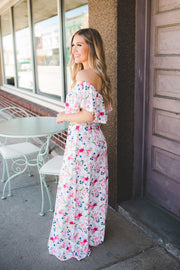 The Pearl Striped Floral Maxi (Pink)
