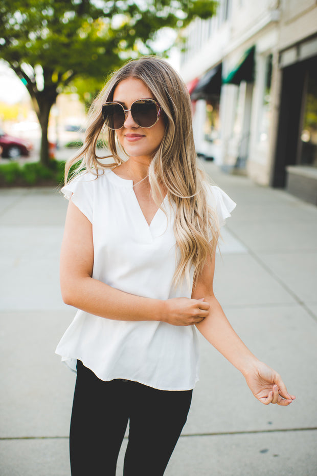 The Francis Flutter Blouse (Ivory)