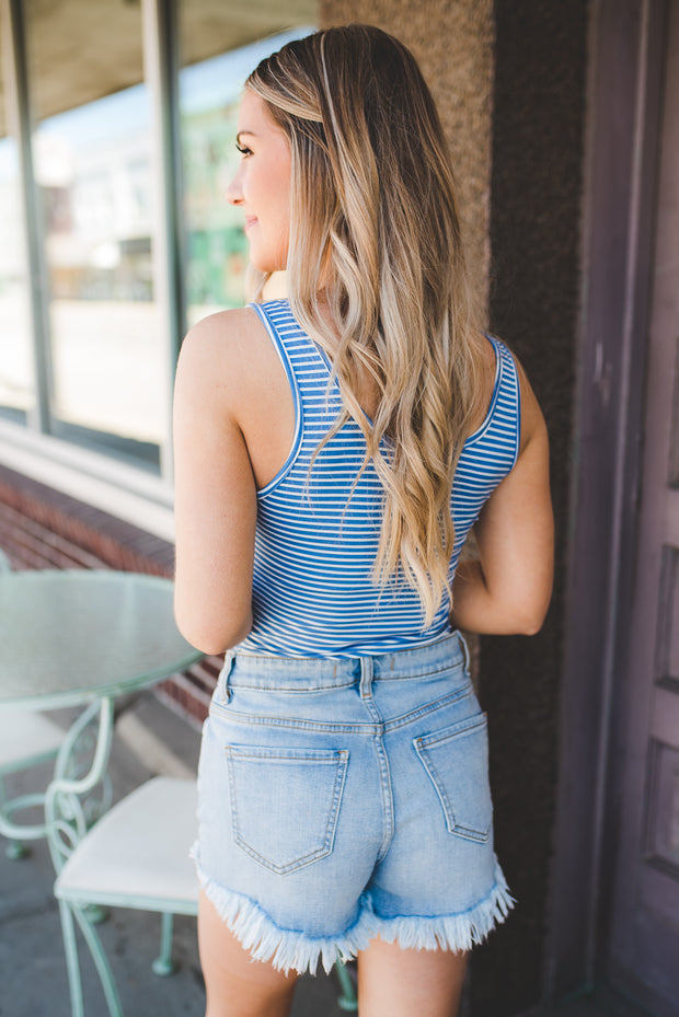 The Top Notch Bodysuit (Denim Blue/White Stripe) FINAL SALE