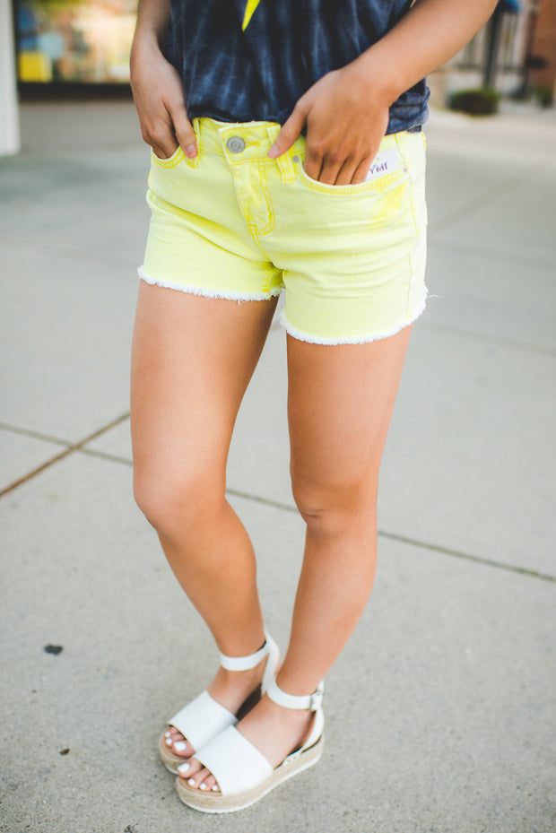The Polly Denim Shorts (Neon Yellow)