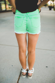The Polly Denim Shorts (Neon Green)