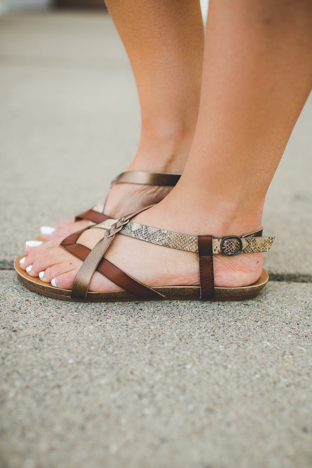 Blowfish Granola Braided Snakeskin Sandal FINAL SALE