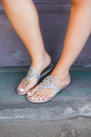 The London Flip Flops (Silver Glitter) FINAL SALE