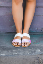 The Athena Sandals (Pink Tie Dye)