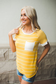 The Jazzy Striped Pocket Top (Yellow) FINAL SALE