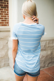 The Jazzy Striped Pocket Top (Sky Blue)