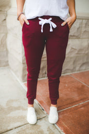 Breakfast In Bed Joggers (Burgundy)