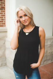 Babydoll Tunic Tank (Black) FINAL SALE