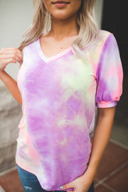 Puff Sleeve Tie Dye V-Neck (Pink/Lavender) FINAL SALE
