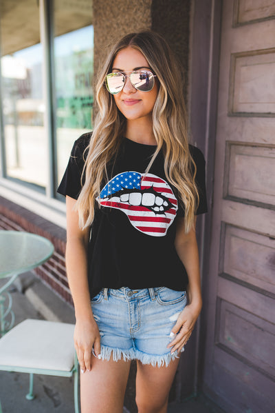 American Lips Graphic Tee (Black)