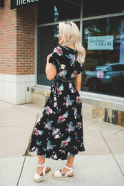 The Angela Floral Wrap Dress (Black)