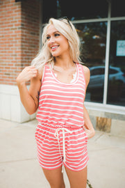 The Bethany Striped Romper (Coral)FINAL SALE