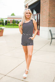 Striped Back Tie Romper (Black) FINAL SALE