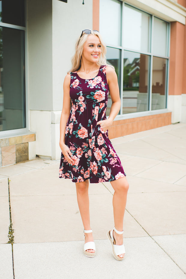 Floral Daze Midi Dress (Burgundy)