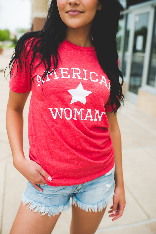 American Woman Graphic Tee (Red)