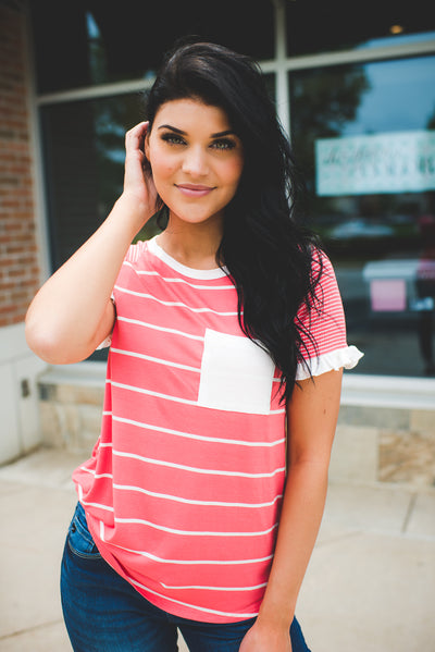 The Jazzy Striped Pocket Top (Coral)