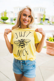 Just Bee Nice Graphic Tee (Yellow)