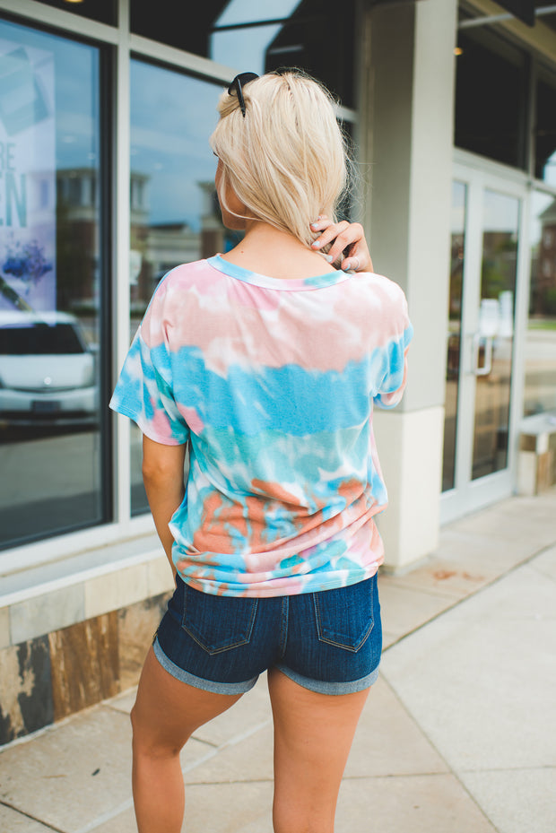 Tie Dye Choker Top (Pink/Mint)FINAL SALE