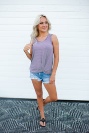 Let's Go Striped Twist Tank (Navy)